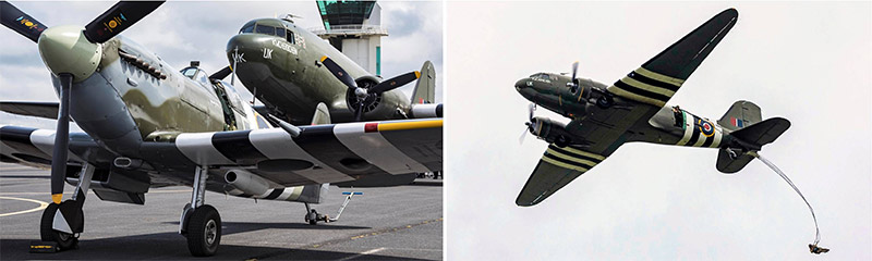 BBMF Spitfire Mk Vb AB910 and C-47 Dakota ZA947