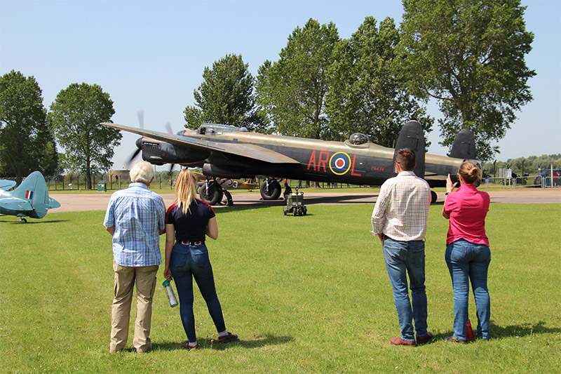 Anthony and his family watching the Lancaster
