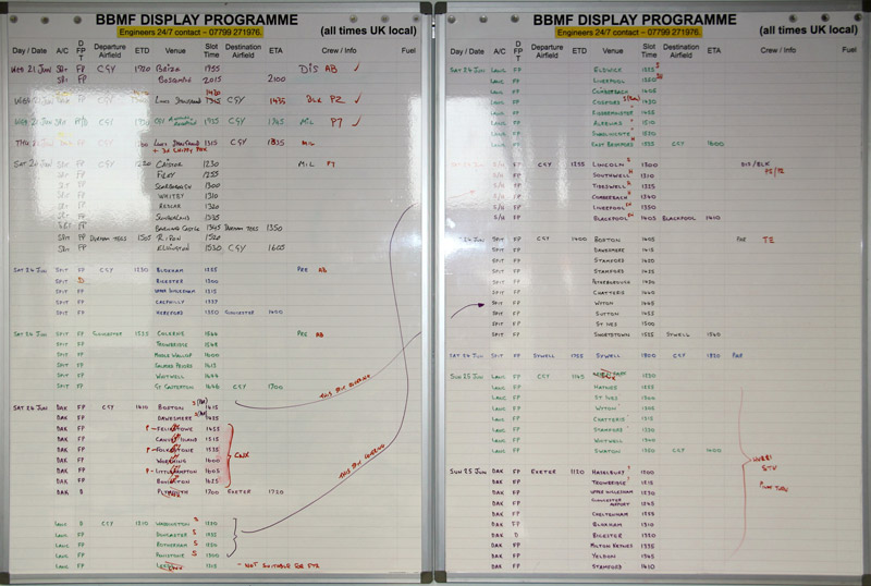 The flying programme boards in the BBMF HQ