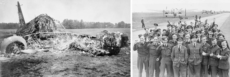 A crashed and burnt out Wellington bomber and crews of 106 Sqn with their C.O. Wg Cdr Guy Gibson