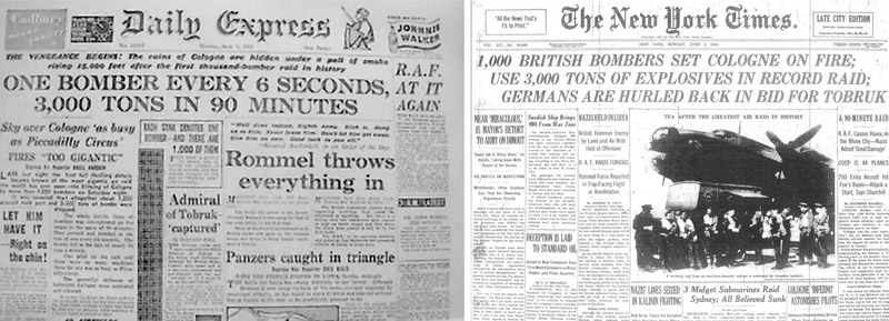 The 1,000 bomber raid gained wide publicity as these newspaper headlines show.