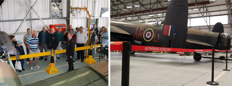The new retractable belt barriers in the BBMF hangar are less obtrusive and look much smarter.