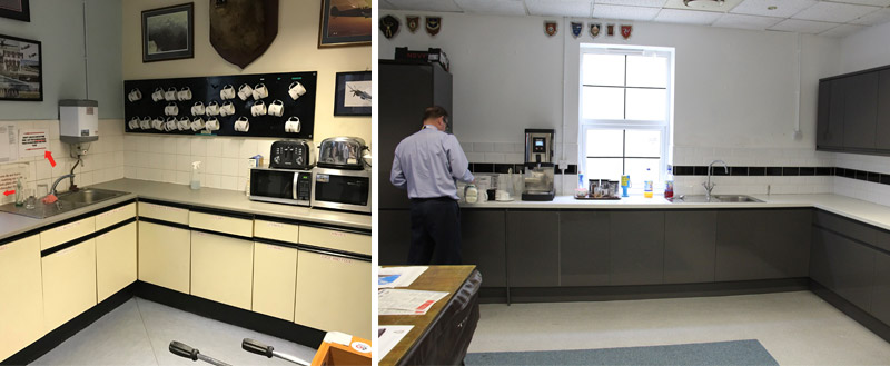 The smart new BBMF kitchen paid for by the Club and fitted by the BBMF themselves.