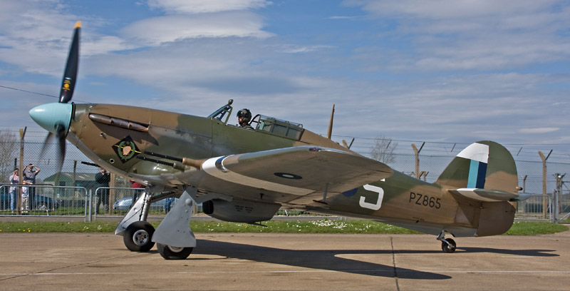 Hurricane PZ865 taxying out at RAF Coningsby