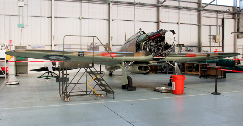 Hurricane LF363 in the BBMF hangar