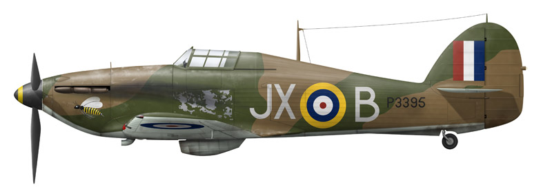 Hurricane P3395 'JX-B' with wasp nose art