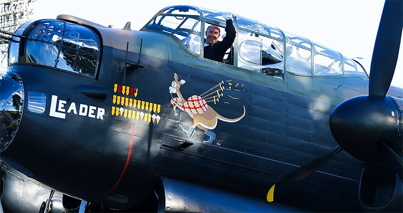 A fist pump from Lancaster captain Flt Lt Seb Davey