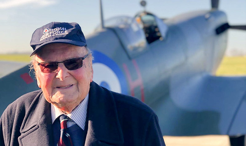 George Dunn DFC LdH with Spitfire MJ755