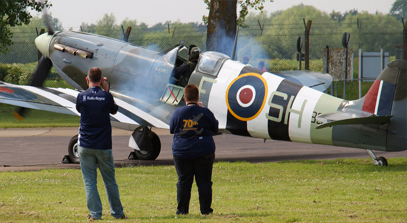 'Up close and personal' with BBMF Spitfire Mk Vb AB910 as it starts up.