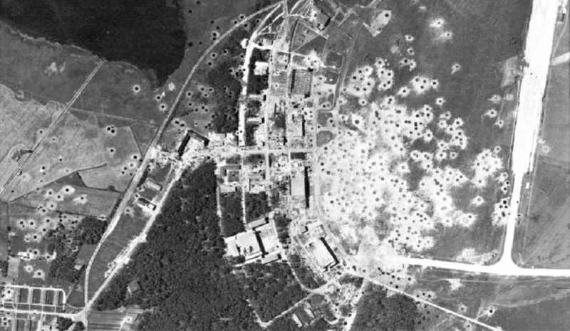 RAF photo-recce image of bomb craters at Peenemunde