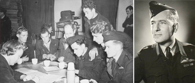 Vic Watts and his crew debriefing after a bombing raid over the Ruhr in June 1943 during his first tour of 'ops'.