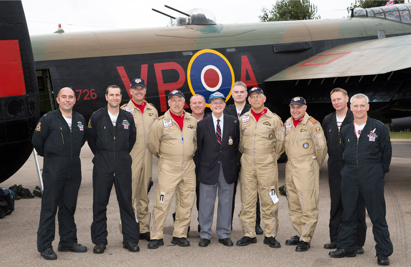 Syd Marshall with some of the Canadian Lancaster crew and BBMF aircrew