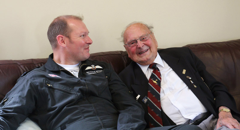 George Dunn having a laugh with BBMF pilot Flt Lt Paul 'Ernie' Wise.