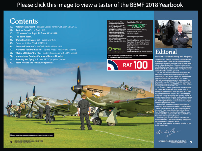 BBMF 2018 Yearbook contents list