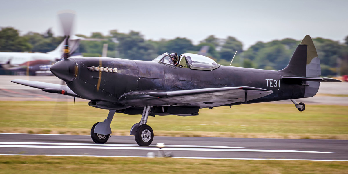 BBMF Spitfire Mk XVI TE311, in its temporary black primer
