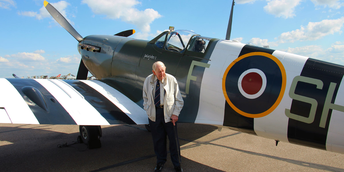Tony Cooper with BBMF Spitfire Mk Vb AB910