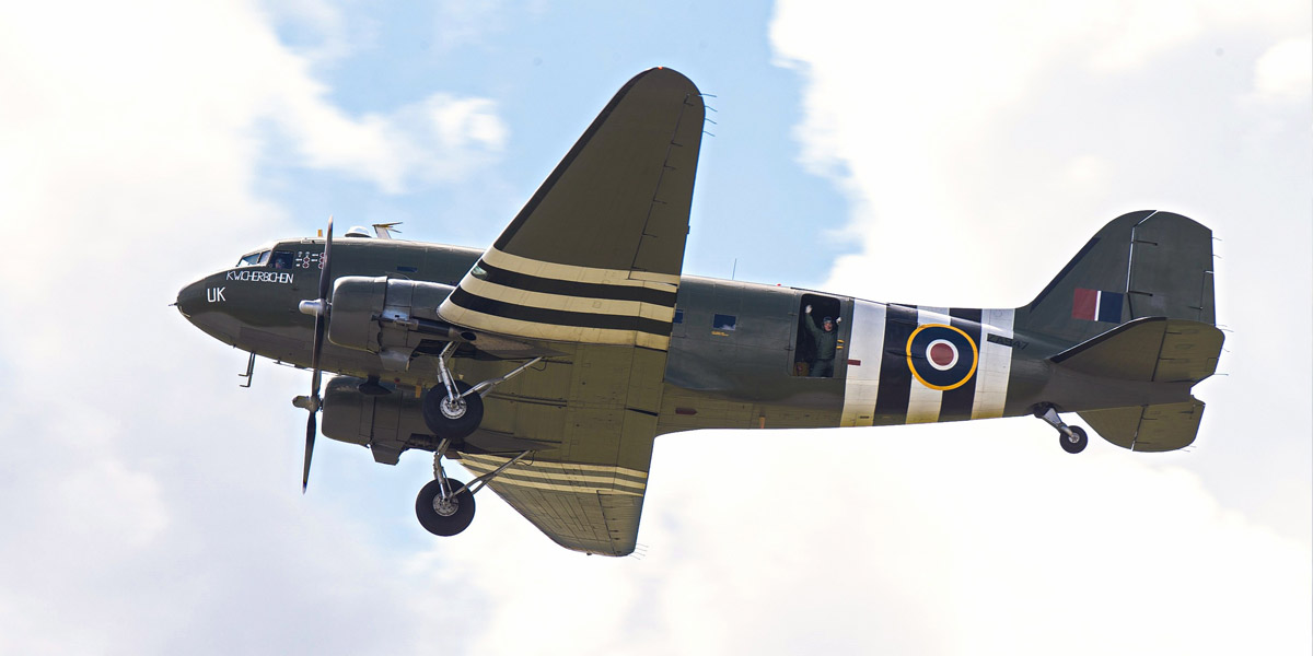 BBMF C-47 Dakota ZA947 flies past with undercarriage down