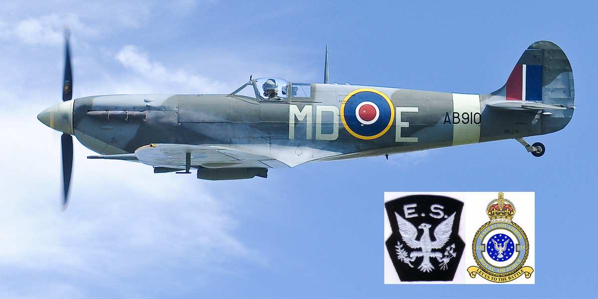 BBMF Spitfire Mk Vb AB910 in the code letters 'MD-E' that it wore whilst serving with No 133 (Eagle) Sqn