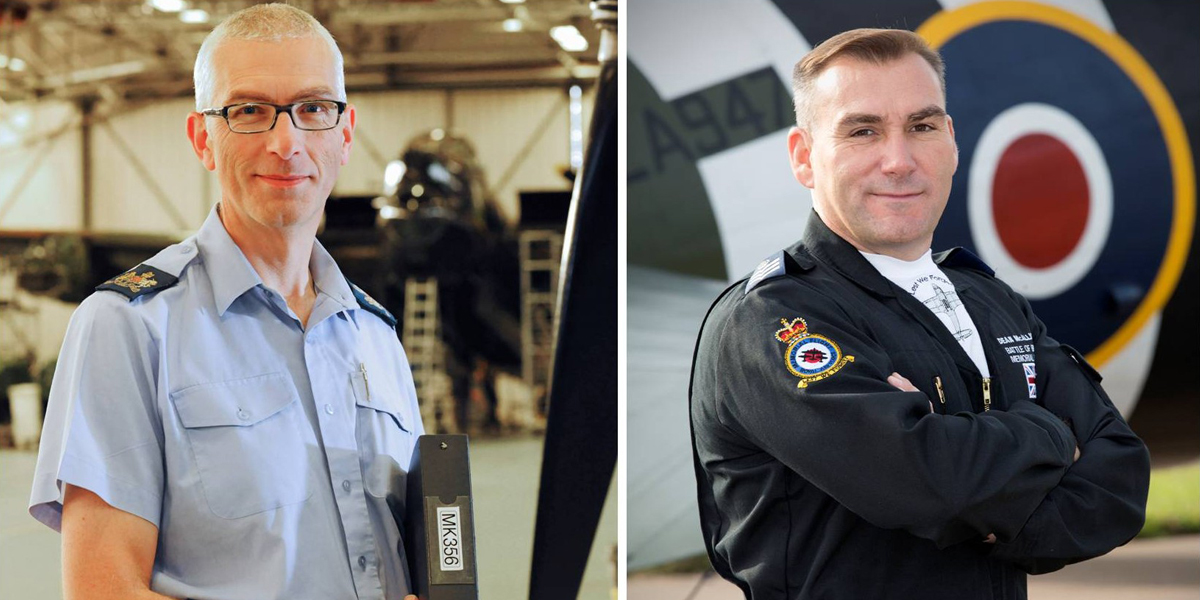 W.O. Kev Ball (left) and Flt Sgt 'Deano' McAllister (right)