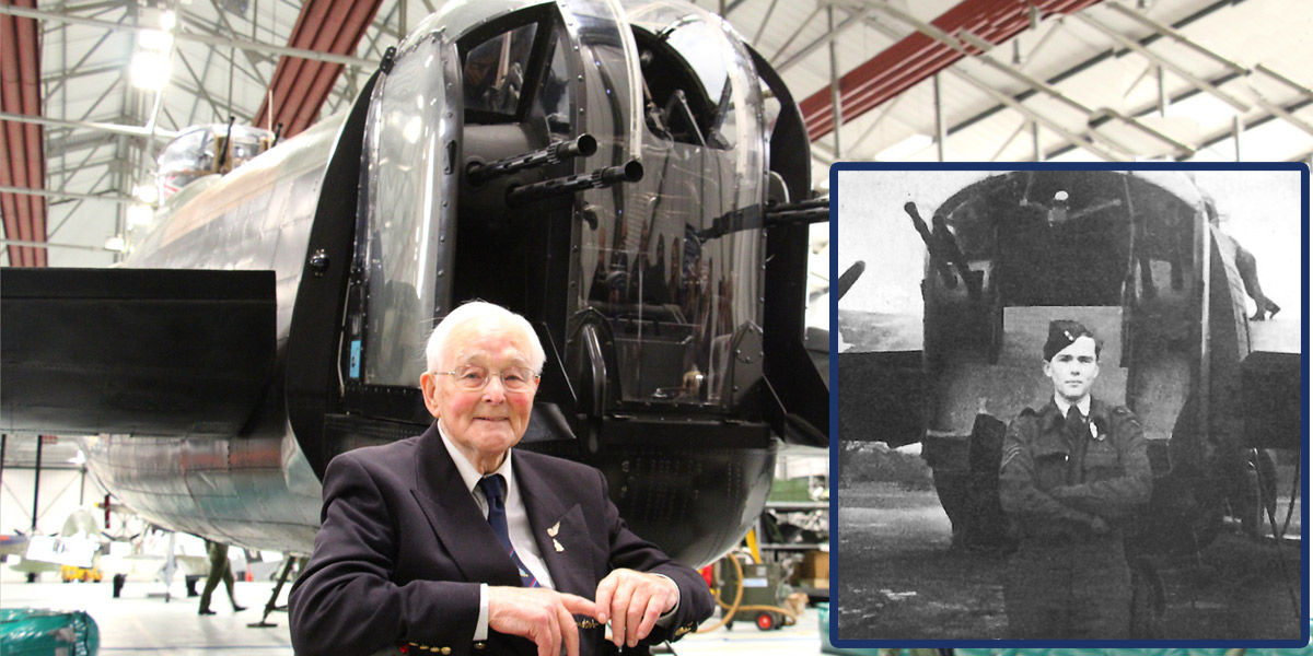 James Flowers, Lancaster rear gunner, photographed by the rear turret of BBMF Lancaster PA474