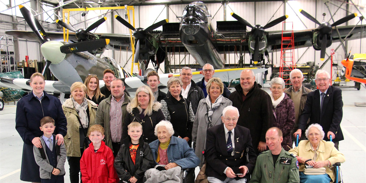 James Flowers and extended family on their visit to BBMF on 25 May