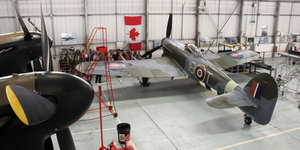 Hawker Typhoon Mk 1B MN235 in the BBMF hangar