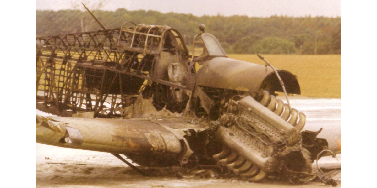 Hurricane LF363 at Wittering on 11th September 1991 after its crash landing.