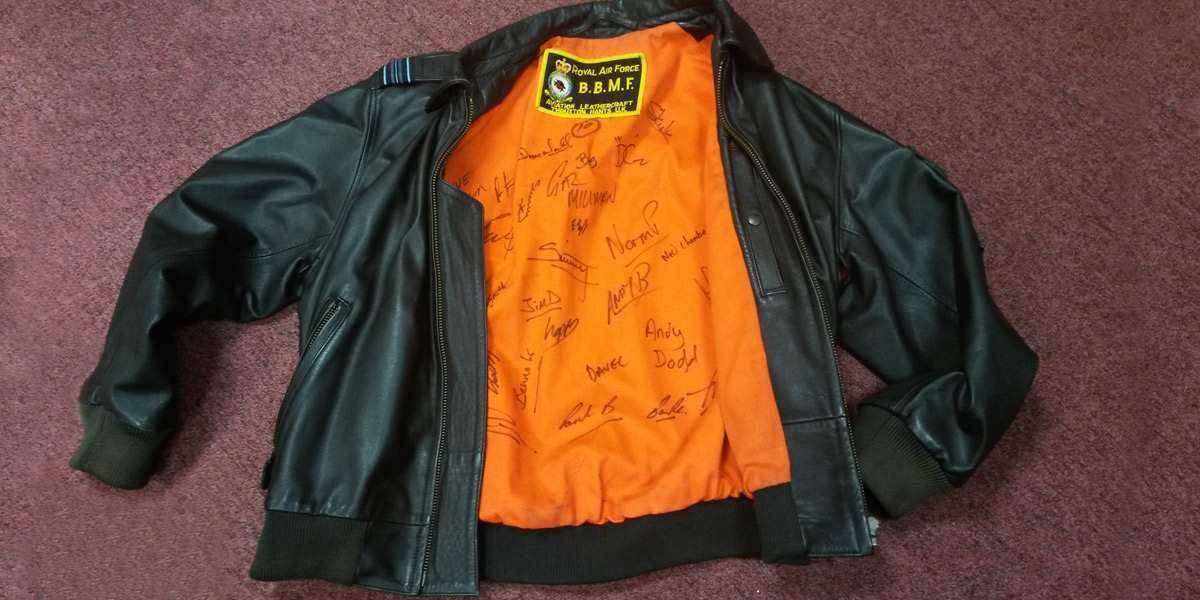 January's prize - a signed Aviation Leathercraft BBMF leather flying jacket