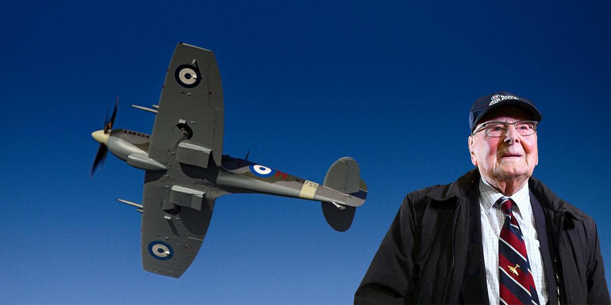 Spitfire Mk IX MJ755 and veteran RAF pilot George Dunn
