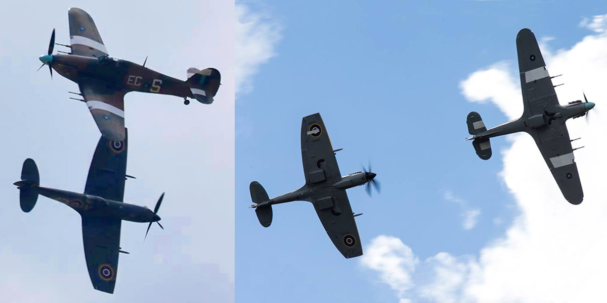 Hurricane PZ865 and Spitfire TE311 during the first PDA day on 27th April 2016