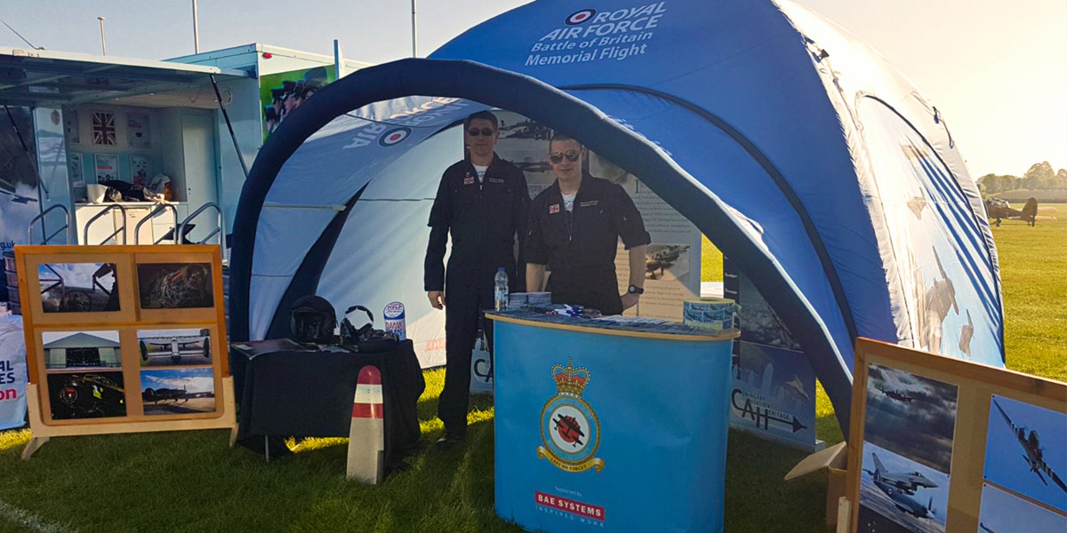 The BBMF PR team at a show with the BBMF tent
