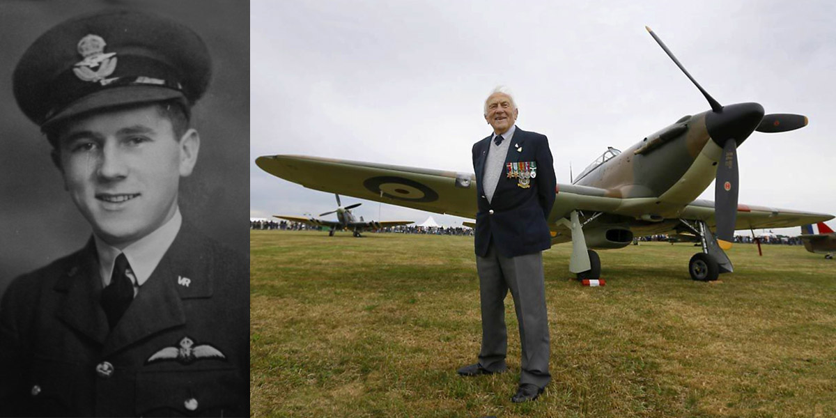 Tony Pickering in 1940 and with a surviving Hawker Hurricane during the 2015 battle of Britain 70th anniversary commemorations.