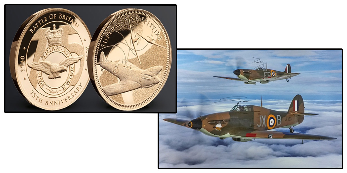 February and March's prizes - a gold Spitfire medal and a photographic print