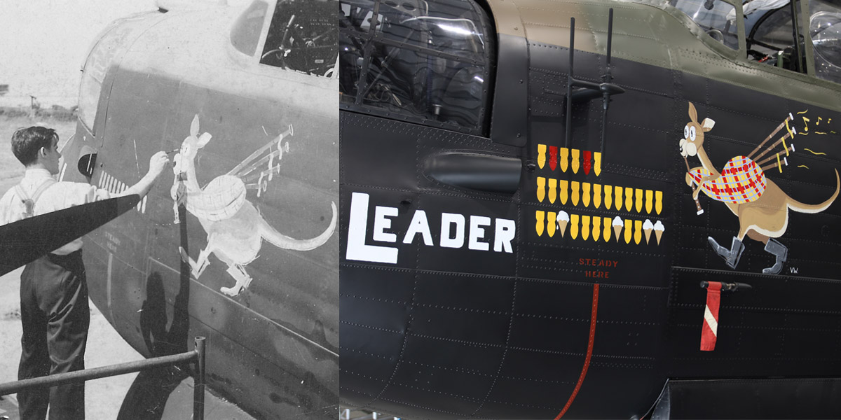 Watts painting the original Kangaroo nose art onto Lancaster W5005 'AR-L' in July 1943