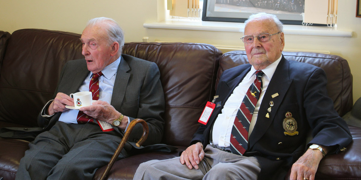 George 'Johnny' Johnson (left,) 'Dambusters' bomb aimer, and George Dunn (right), Halifax and Mosquito pilot, in the BBMF 'Lancaster Lounge'