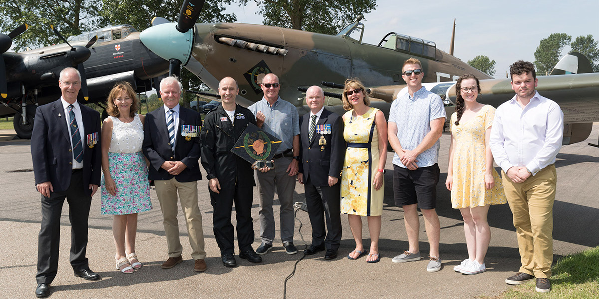 BBMF Hurricane PZ865 with Jimmy Whalen's family