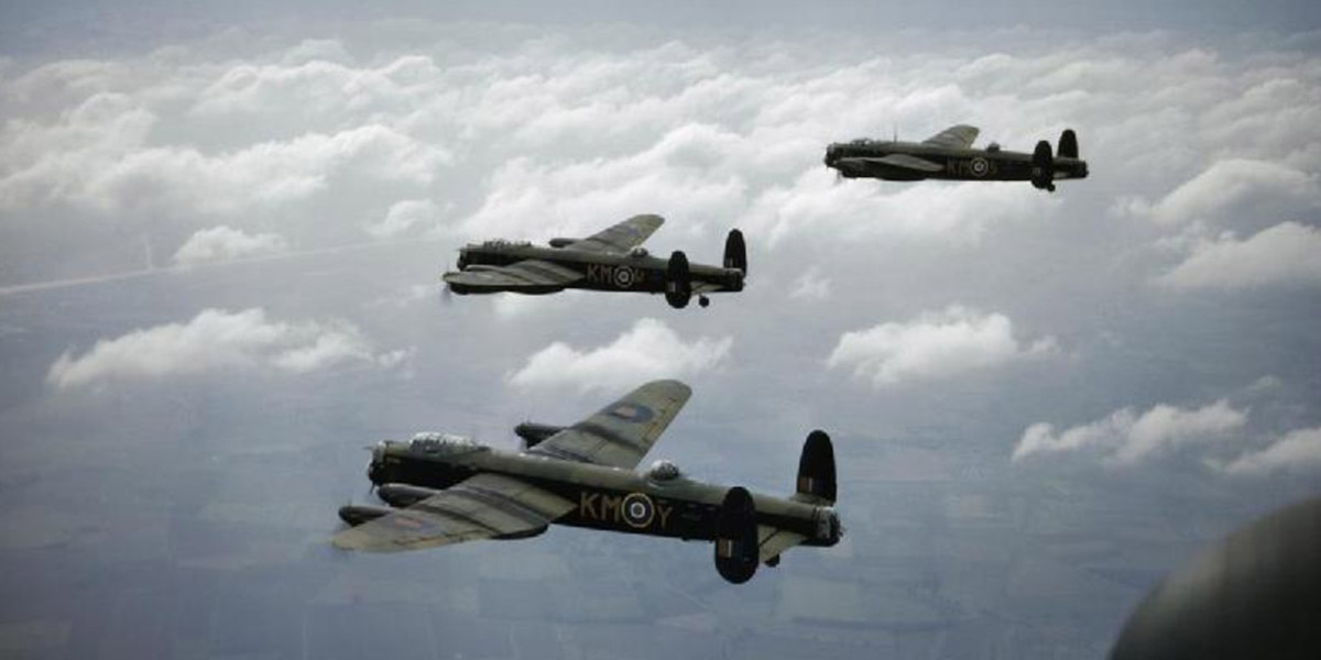Three Lancaster B1s of No 44 Sqn flying in formation in 1942