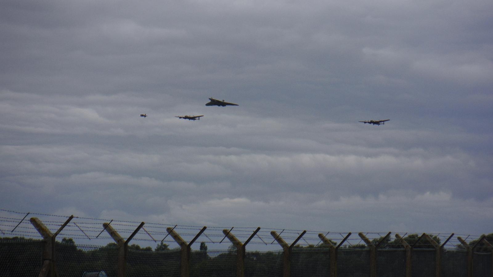 Three Avros fly-by