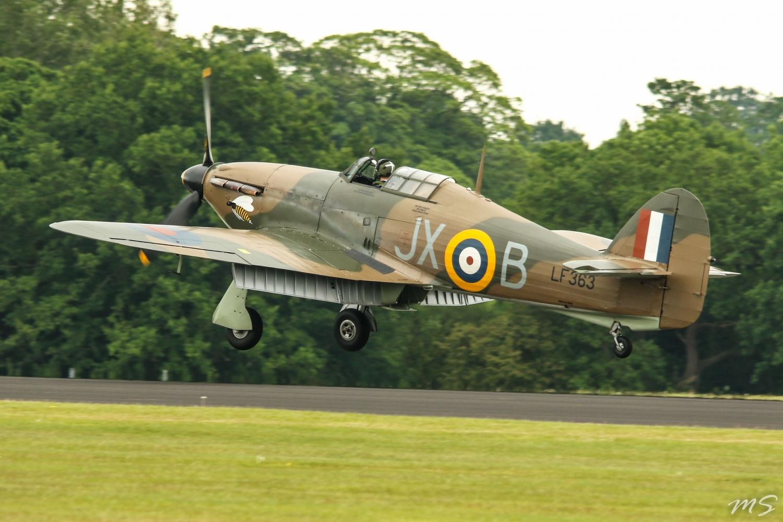 Hurricane LF636 landing at Cosford 2014