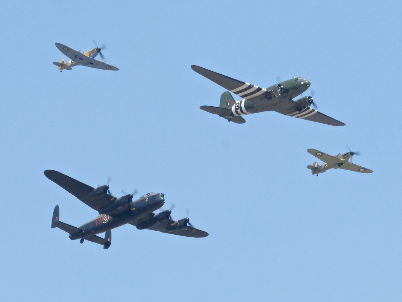 BBMF Trenchard Formation RAF Coningsby July 2018