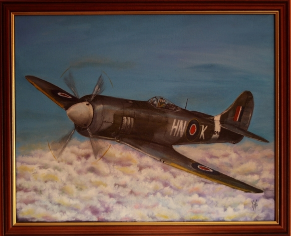 My uncle's Hawker Tempest in 1956 a commissioned paintingby Neil Higgs Soaring Scenes