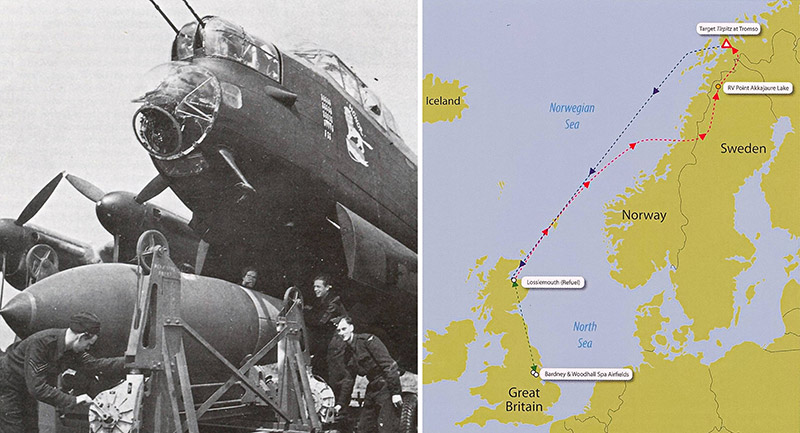 "Lancaster ED763 'KC-Z' ""Honor"" being loaded with a 'Tallboy' bomb"